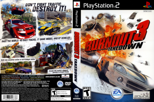 Full cover art scan for Burnout 3: Takedown for the PlayStation 2. This is my first full cover scan from a new-to-me Epson Perfection V200 Photo scanner.  RenderWare is a registered trademark of Canon, Inc.